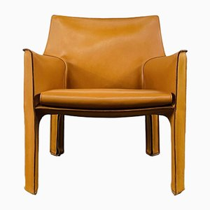 Mid Century Italian Cab 414 Cognac Leather Chair by Mario Bellini for Cassina, 1970s