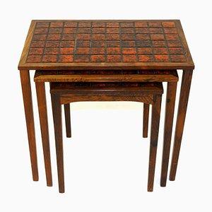 Rosewood & Ceramic Nesting Tables, 1960s