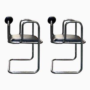 Tavolo da pranzo e sedie in acciaio inossidabile, Italia, anni '60, set di 5