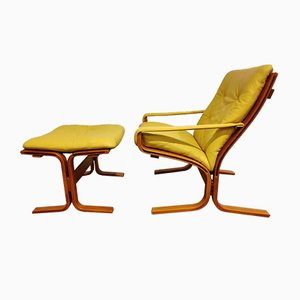 Armchair & Stool by Ingmar Relling for Westnofa, 1970s, Set of 2