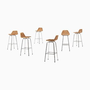 Bar Stools in Steel and Rattan in the Style of Charlotte Perriand, Set of 6