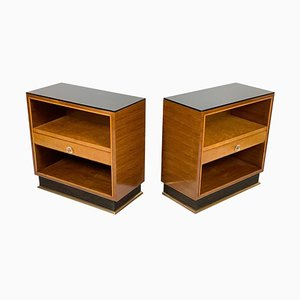 Art Deco Italian Black Glass Top and Brass Base Bedside Tables, Set of 2