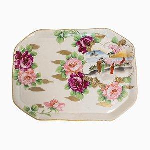 Assiette ou Plateau Chinoiserie en Porcelaine Peinte à la Main, Fin 19ème Siècle