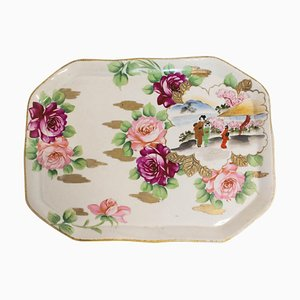 Chinoiserie Hand-Painted Porcelain Plate or Tray, Late 19th Century
