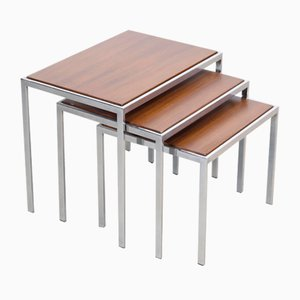 Teak and Chrome Nesting Tables, Set of 3