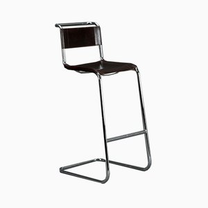 Bauhaus S39 Cantilever Barstool in Brown Leather by Mart Stam for Thonet