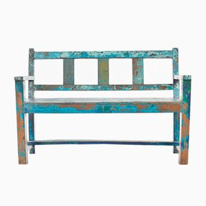 Small Blue Patina Wooden Bench