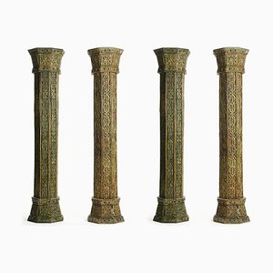 Carved Wooden Columns, Set of 4