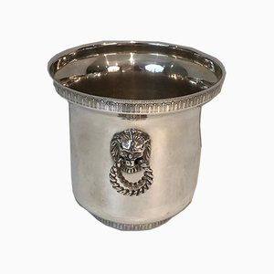Silver Plated Champagne Bucket with Lion Head Handles, France, 1930s