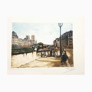Dufza, Paris, Quai Des Grands Augustins, Etching, 1940s