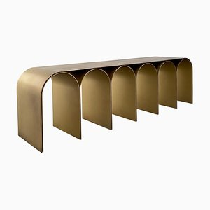 Steel Gold Arch Bench by Pietro Franceschini