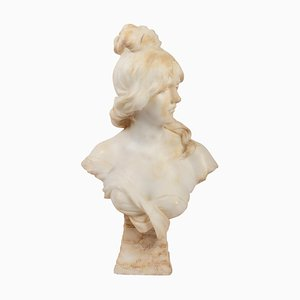 Art Nouveau Female Bust in Alabaster