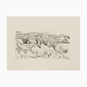 Pierre Guastalla, Les Montagnes Saint-Victoire, Radierung, Mitte des 20. Jahrhunderts