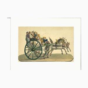 Wagen, Gouache, 19. Jahrhundert