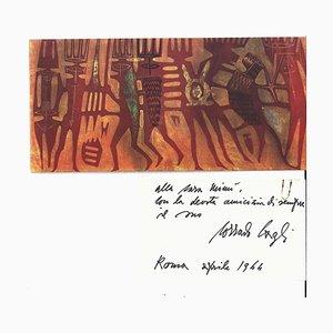 """Corrado Cagli, invitation Card for the Cagli""""s Solo-Exhibition, the Modern Design, 1964"""