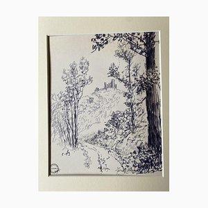 Socrate Foscato, Landscape, Ink, 20th Century