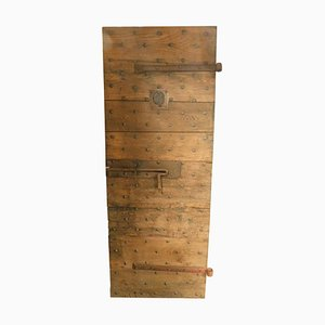 Antique Wood Chestnut Prison Door with Original Nails and Irons, Italy, 19th Century