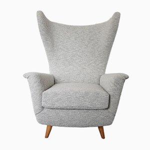 Italian Wingback Lounge Chair in Light Grey Bouclé, 1950