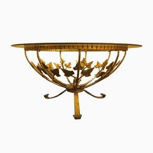 Runder Mid-Century Couchtisch aus Vergoldetem Stahl & Glas von Hans Kögl