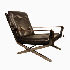 Leather & Chromed Metal Lounge Chair, 1970s