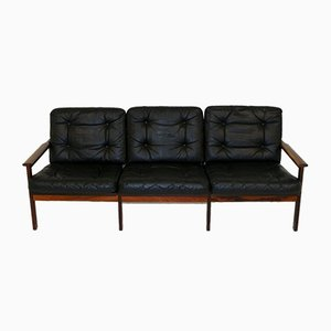 Capella Model 4 Leather & Rosewood Sofa by Illum Wikkelsø for Niels Eilersen, 1960s