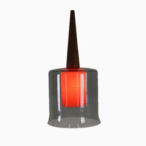 Lampe à Suspension en Verre et en Teck, Danemark, 1958