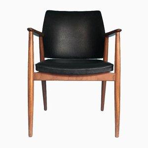 Vintage Black Leather Teak Chair, 1960s