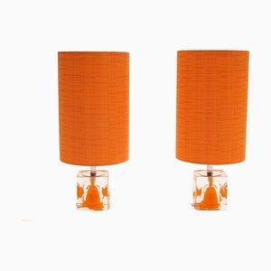Space Age Tischlampen mit orangenen Schirmen, 1970er, 2er Set