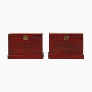Antike rot und gold lackierte Truhen, 2er Set