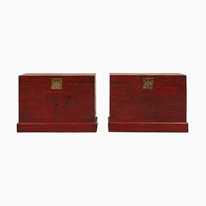 Antique Red and Gold Painted Trunks, Set of 2