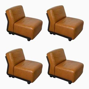 Amanta Lounge Chairs by Mario Bellini for B&B Italia / C&B Italia, 1970s, Set of 4