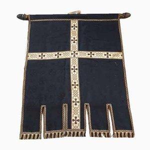 Antikes Seidenkreuz aus Seide in Schwarz und Gold