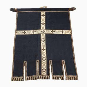 Tessuto antico in seta nera e oro con croce
