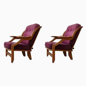 Mid-Century French Oak Armchairs by Guillerme et Chambron, Set of 2