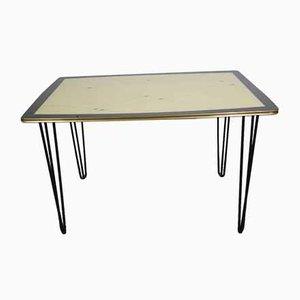 Nierenförmiger Esstisch mit Goldrand, 1950er