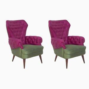 Italienische Mid-Century Sessel in Lila und Grün, 1950er, 2er Set