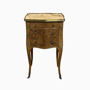 Louis XV Palisander Nachttisch mit Intarsien & Marmorplatte