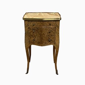 Louis XV Rosewood Inlaid and Marble Topped Nightstand