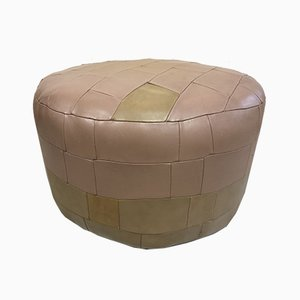 Vintage Leather Patchwork Ottoman, 1970s