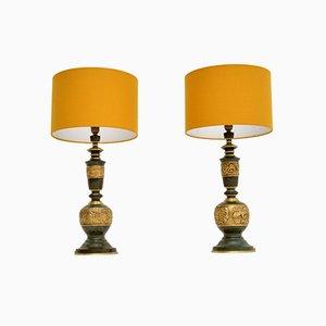 Vintage Brass & Enamel Table Lamps, 1960s, Set of 2