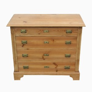 Antique Pine Chest of Drawers with Brass Handles, 1920s
