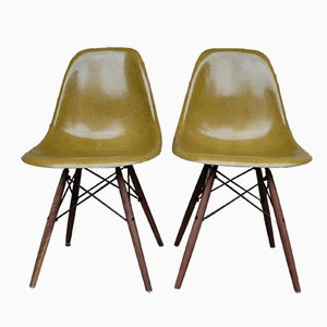Olive Dowel Base Side Chairs by Charles & Ray Eames for Vitra, Set of 2