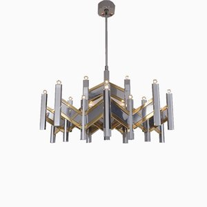 Large Italian Brass & Chrome Chevron Chandelier with 21 Lights by Sciolari, 1970s