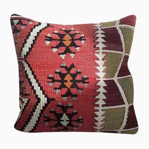 Mid-Century Turkish Wool Kilim Cushion with Insert