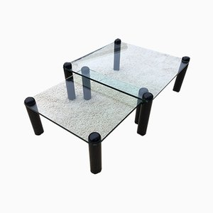 Glass and Lacquered Wood Coffee Tables from Ligne Roset, 1980s, Set of 2