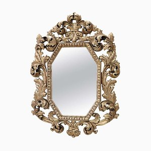 Vintage Carved and Gilded Wood Wall Mirror, 1930s