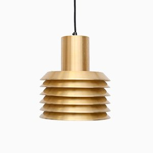 Vintage Danish Pendant Lamp in Golden Brass, 1960s