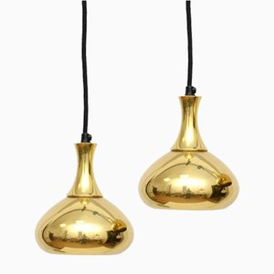 Vintage Danish Pendant Lamps in Golden Brass, 1960s, Set of 2