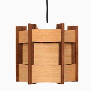 Dänische Deckenlampe aus Holz, 1960er