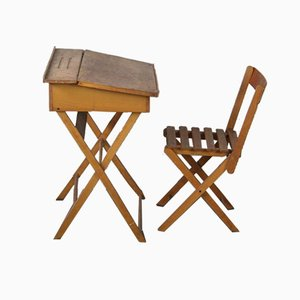 Mid-Century Office Desk and Folding Chair for Children, Set of 2